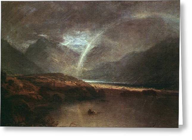Painter Of Light Greeting Cards - Buttermere lake with part of Crummockwater a shower 1798 Greeting Card by J M W Turner