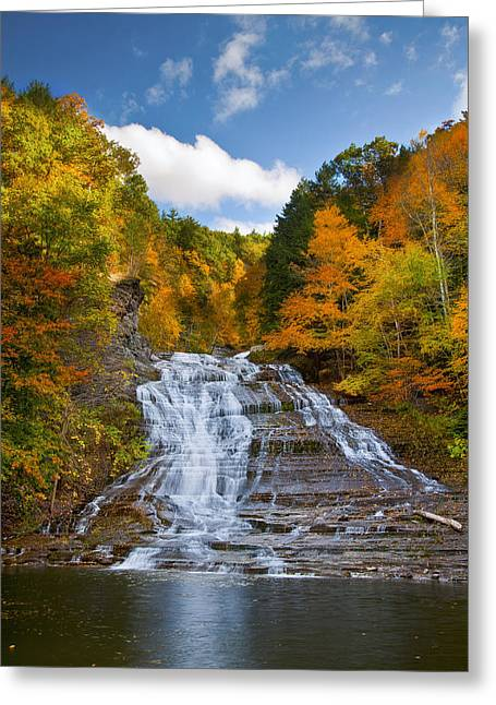Leaf Change Greeting Cards - Buttermilk Falls 2 Greeting Card by Mark Papke