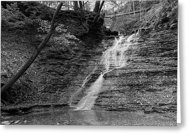 Buttermilk Falls Greeting Cards - Buttermilk Falls Black and White Greeting Card by Clint Buhler