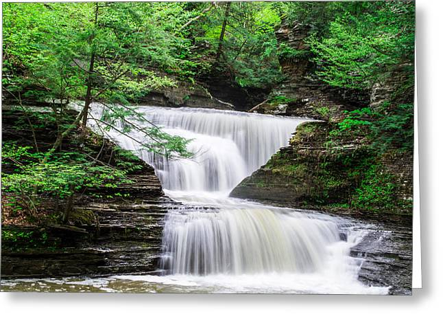 Buttermilk Falls Greeting Cards - Buttermilk Falls Landscape Greeting Card by John Baumgartner