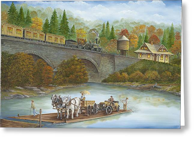 Buttermilk Falls Greeting Cards - Buttermilk Falls with Ferry Greeting Card by Carol Angela Brown