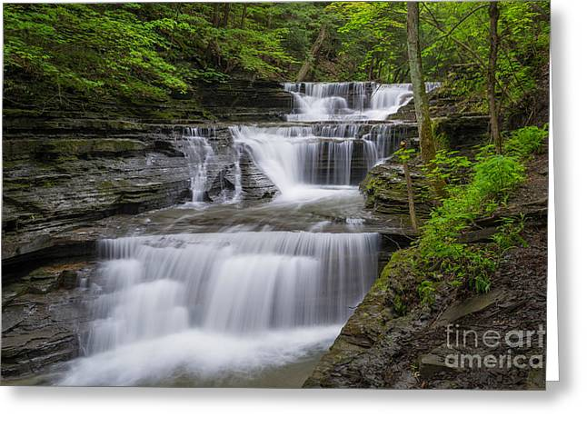 Buttermilk Falls Greeting Cards - Buttermilk Small Fall Greeting Card by John Naegely