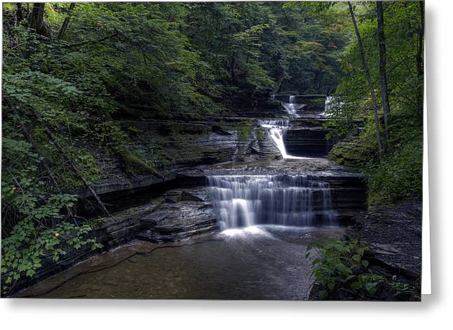 Buttermilk Falls Greeting Cards - Buttermilk Waterfalls Greeting Card by David Simons