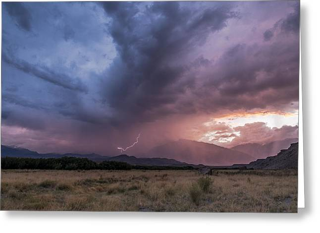 Bishop Greeting Cards - Buttermilks Lightning Strike Greeting Card by Cat Connor