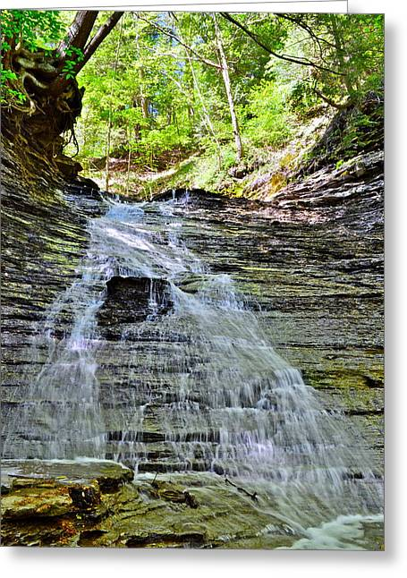 Overhang Greeting Cards - Butternut Falls Greeting Card by Frozen in Time Fine Art Photography