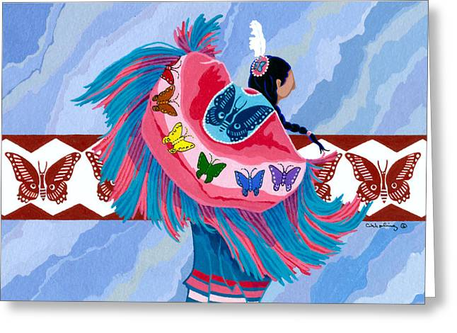 Fancy-dancer Greeting Cards - Butteryfly Fancy Dancer Greeting Card by Chholing Taha