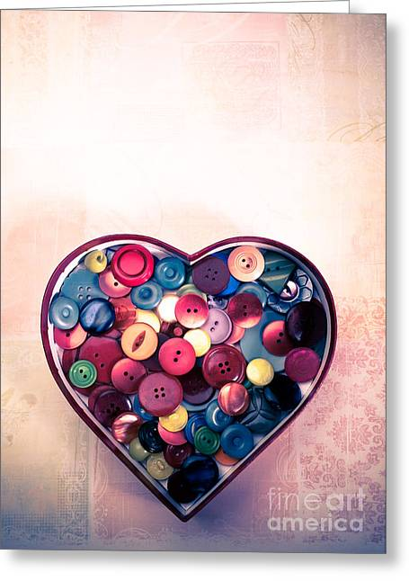 Buttons Greeting Cards - Button Love Greeting Card by Jan Bickerton