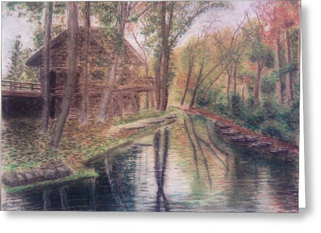 Mills Pastels Greeting Cards - Butts Mill Farm Greeting Card by Andrew Pierce