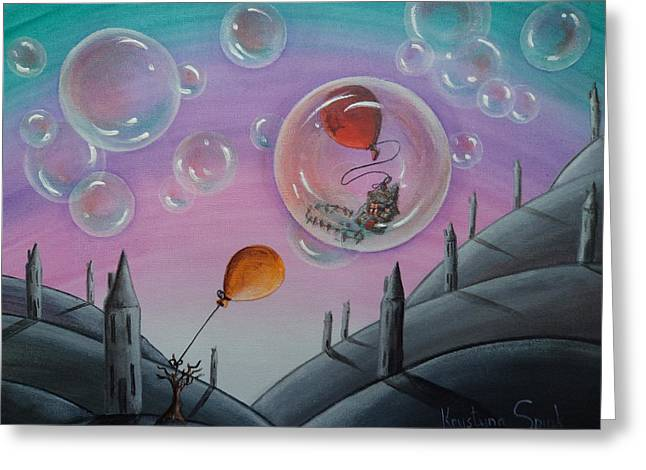 Brick Schools Paintings Greeting Cards - Buubble Trouble Greeting Card by Krystyna Spink