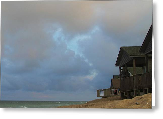 Buxton Porch And Ocean 3 Greeting Card by Cathy Lindsey