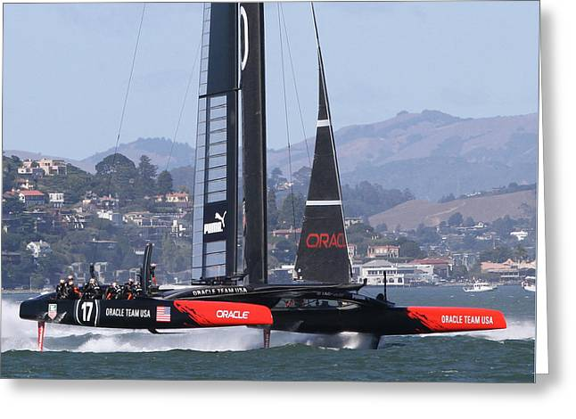 Sausalito Greeting Cards - Oracle Americas Cup 34 Greeting Card by Steven Lapkin