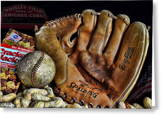 Baseball Gloves Photographs Greeting Cards - Buy Me Some Peanuts and Cracker Jacks Greeting Card by Ken Smith