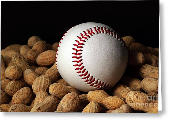 Baseball Art Greeting Cards - Buy Me Some Peanuts - Baseball - Nuts - Snack - Sport Greeting Card by Andee Design