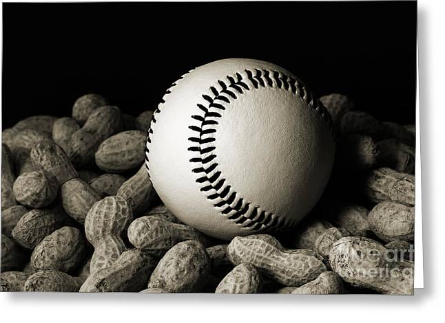 Baseball Photographs Greeting Cards - Buy Me Some Peanuts - Baseball - Nuts - Snack - Sport - B W Greeting Card by Andee Design