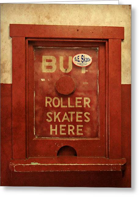 Antique Skates Greeting Cards - Buy Skates Here Greeting Card by Brenda Conrad