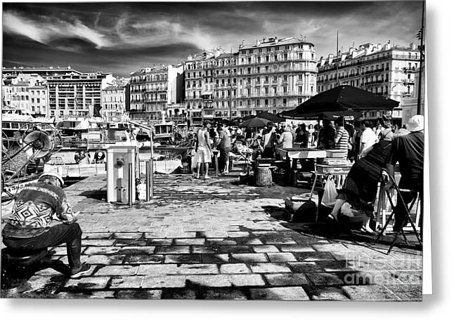 Port Fish Greeting Cards - Buying Fish in Marseille Greeting Card by John Rizzuto