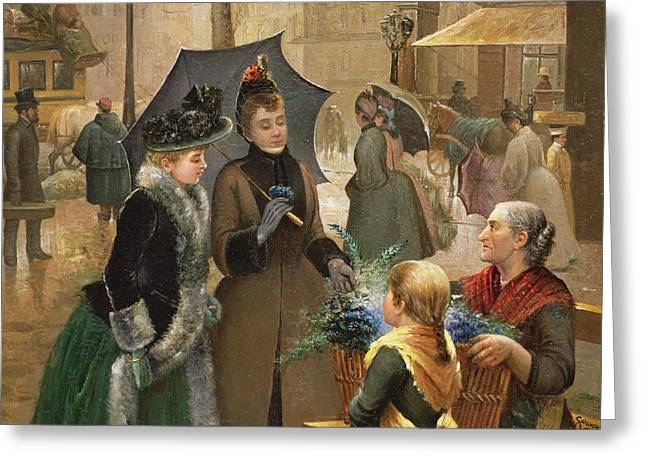 Rainy City Greeting Cards - Buying Flowers, 19th Century Greeting Card by G. Salanson