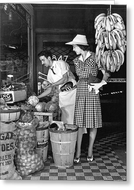 Buying Fruit And Vegetables Greeting Card by Underwood Archives