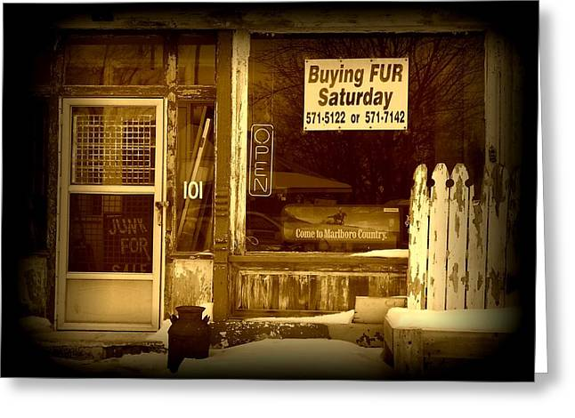 Store Fronts Greeting Cards - Buying Fur II Greeting Card by Michael L Kimble