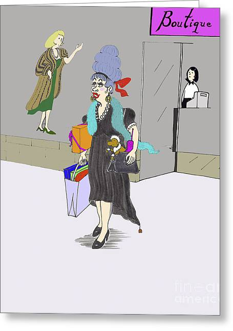 Gray Hair Drawings Greeting Cards - Buying things. Lady shopping in the city Greeting Card by Lee Serenethos