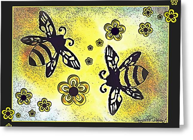 Hovering Mixed Media Greeting Cards - Buzy Bees And Daisies Greeting Card by Danielle  Parent