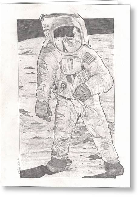 Nasa Drawings Greeting Cards - Buzz Aldrin Apollo 11 Greeting Card by Paul McRae