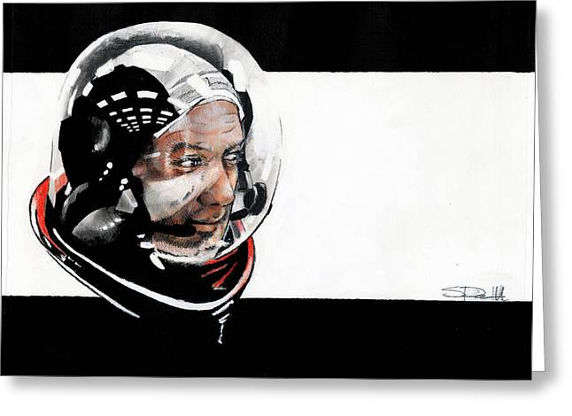 Famous Person Mixed Media Greeting Cards - Buzz Aldrin Greeting Card by Sean Parnell