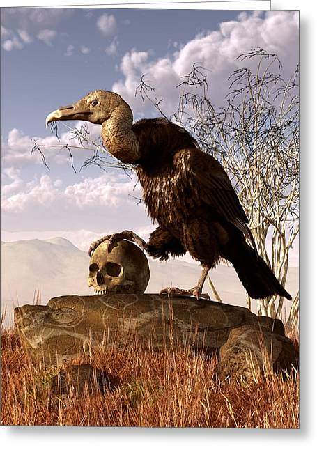 Win Greeting Cards - Buzzard with a Skull Greeting Card by Daniel Eskridge
