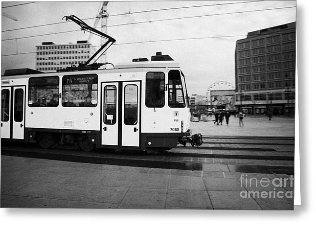 Berlin Germany Greeting Cards - BVG berlin yellow tram travelling though alexanderplatz Berlin Germany Greeting Card by Joe Fox