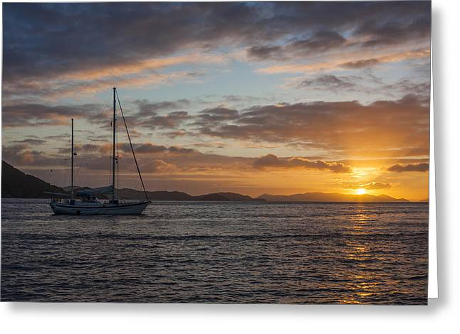 Sailboat Ocean Greeting Cards - BVI Sunset Greeting Card by Adam Romanowicz