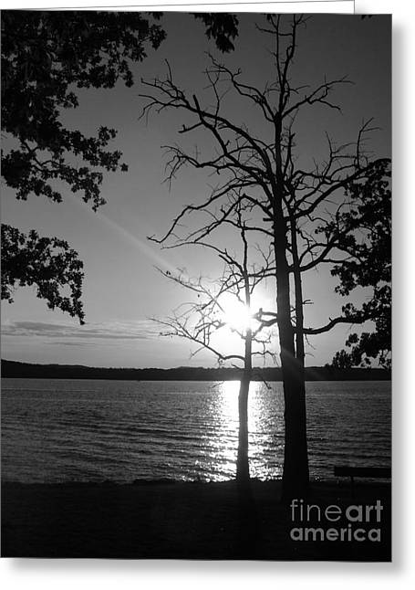 Branson Mo Greeting Cards - BW  Days End Greeting Card by Pics by Jody Adams
