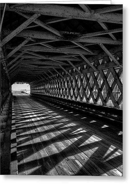 Covered Bridge Greeting Cards - BW Covered Bridge Greeting Card by Fred LeBlanc