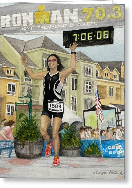 Ironman Paintings Greeting Cards - B.W. Finishes Ironman 70.3 Tremblant Greeting Card by Tanya Petruk