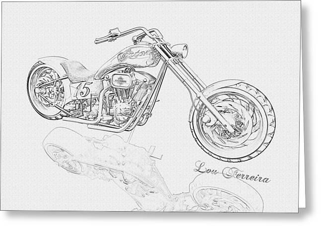 Pencil Drawing Digital Art Greeting Cards - BW Gator motorcycle Greeting Card by Louis Ferreira