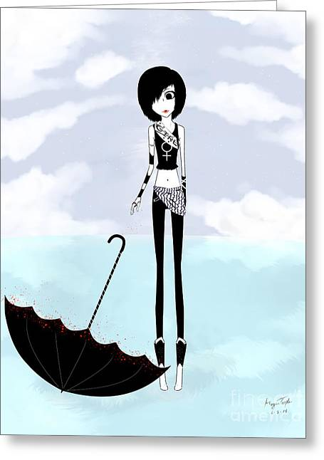 Black Boots Drawings Greeting Cards - BW GIRL Umbrella Greeting Card by Morgan Temple