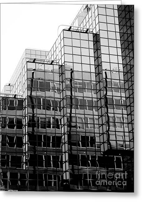 Glass Wall Greeting Cards - BW glass reflections Greeting Card by Christos Koudellaris