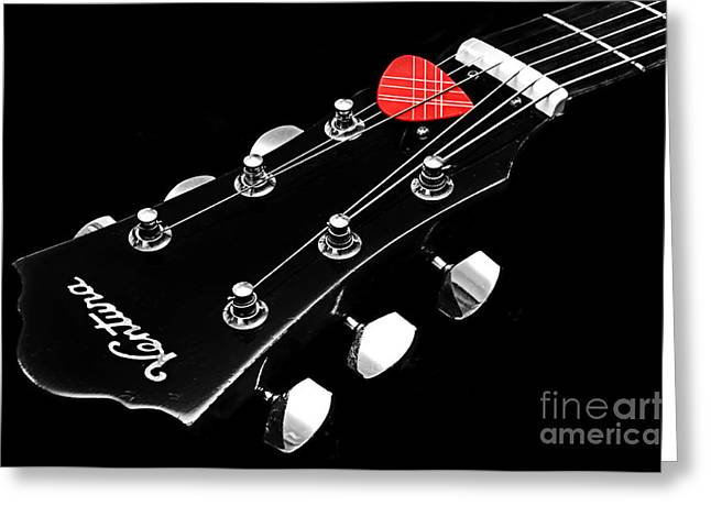 BW Head Stock With Red Pick  Greeting Card by Andee Design