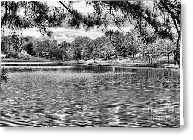 Tennessee Barn Greeting Cards - Bw Lake views  Greeting Card by Chuck Kuhn
