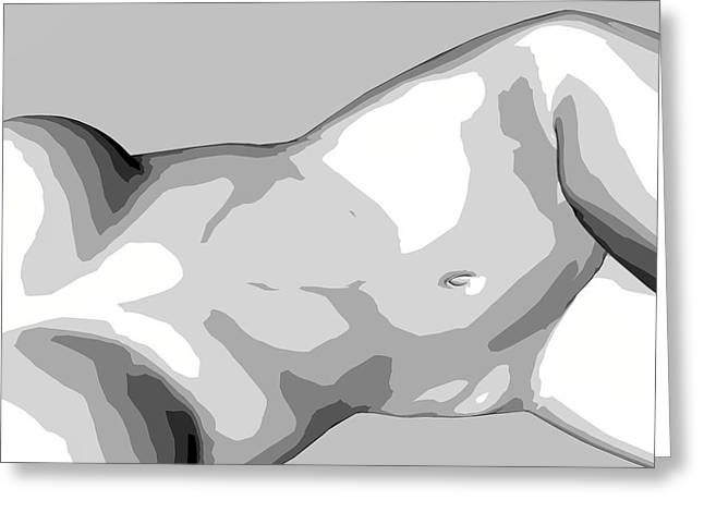 Digital_art Greeting Cards - BW Nude Greeting Card by Louis Ferreira