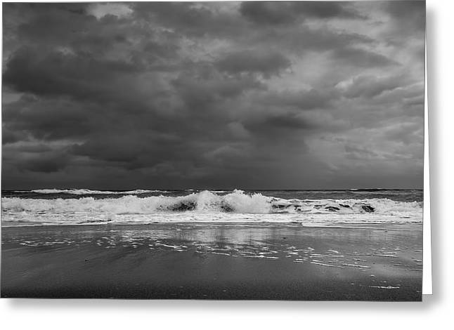 Summer Storm Greeting Cards - BW Stormy Seascape Greeting Card by Rudy Umans