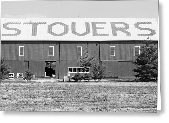 Barn Door Greeting Cards - BW Stovers Farm Market Berrien Springs Michigan USA Greeting Card by Sally Rockefeller