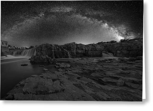 Black And White Waterfall Greeting Cards - BWCday2  Night at the Falls Greeting Card by Aaron J Groen