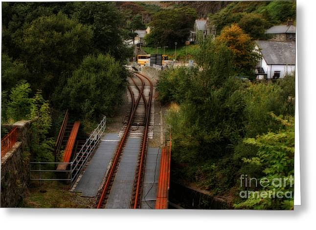 Garden Scene Digital Art Greeting Cards - Bwlch y Gwynt Railroad in Wales Greeting Card by Michael Braham