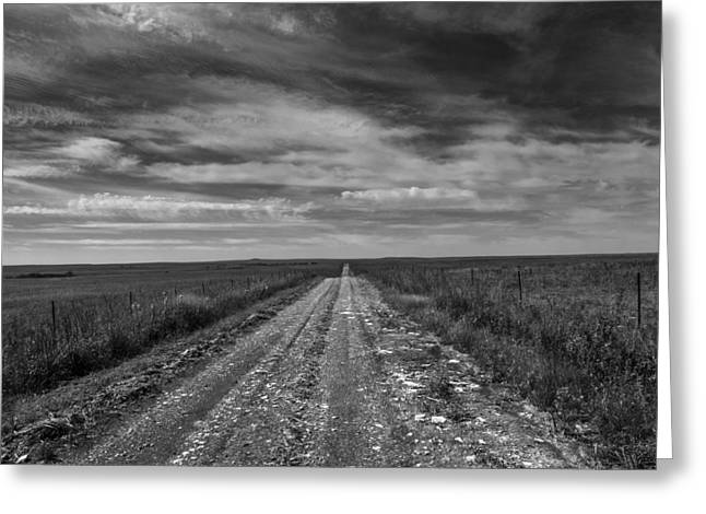 Gravel Road Greeting Cards - BxW Gravel Vanishing Point Greeting Card by Eric Benjamin
