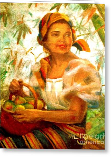 Filipina Greeting Cards - by Amorsolo Greeting Card by Maria  Leah