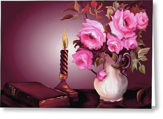 Glass Table Reflection Greeting Cards - By Candle Light Greeting Card by Ronald Chambers