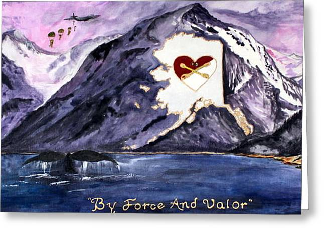 Salmon Paintings Greeting Cards - By Force and Valor Greeting Card by Judy Swircenski
