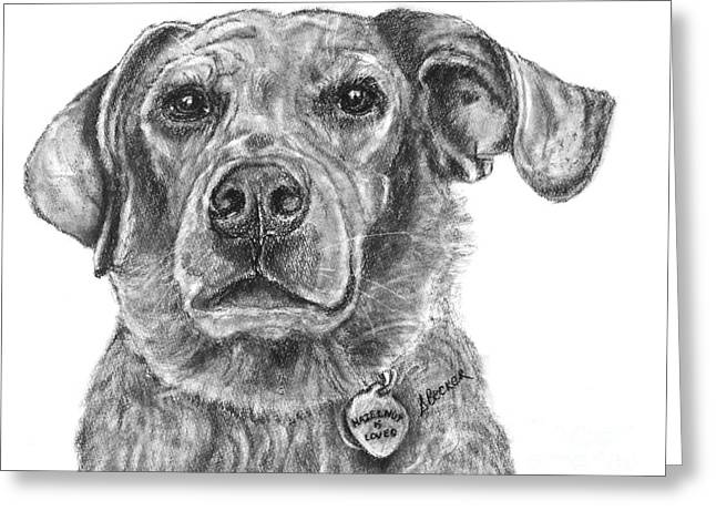 Charcoal Dog Drawing Drawings Greeting Cards - By Heart Greeting Card by Susan A Becker