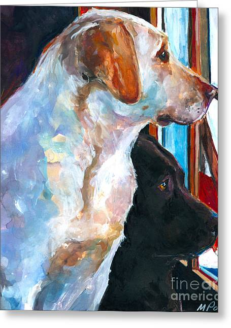 Dogs Paintings Greeting Cards - By My Side Greeting Card by Molly Poole