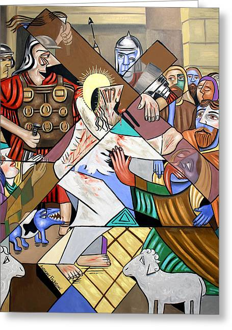 Mother Mary Digital Art Greeting Cards - By My Wounds You Were Healed Greeting Card by Anthony Falbo